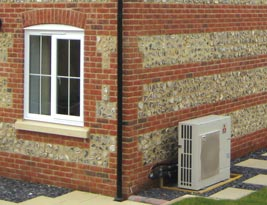 An installed Shrewton air source heat pump